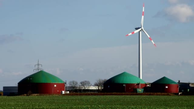 biogas plant and Wind turbine video