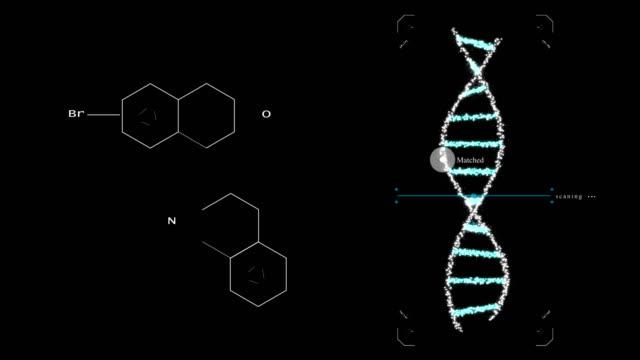 vidéos et rushes de modification de gènes génie biologique ogm organisme génétiquement modifié. concept de design de l'adn. fond sombre - synthétiseur