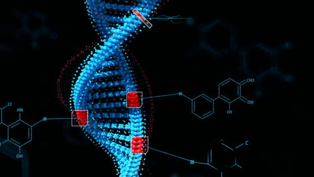 Biological engineering gene modification GMO genetically modified organism. Design DNA concept. Dark background.