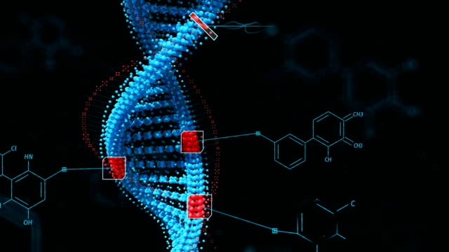 Biological engineering gene modification GMO genetically modified organism. Design DNA concept. Dark background. video