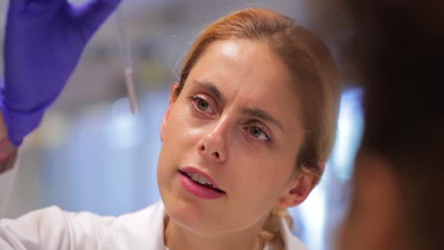 biologist examining test tube samples in the laboratory - scoprire nuovi terreni video stock e b–roll
