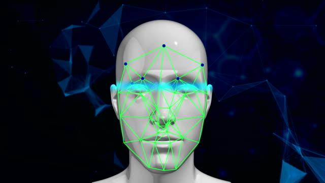vídeos de stock e filmes b-roll de biometric facial recognition technology scanning face - identidade