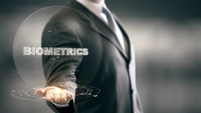 Biometrics with hologram businessman concept
