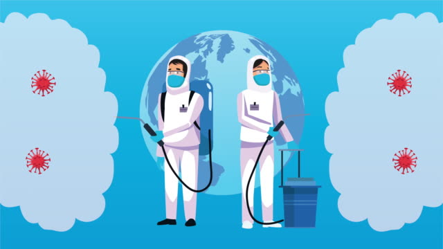 Bидео biosafety workers with spray cleaner covid19 disinfected and earth planet