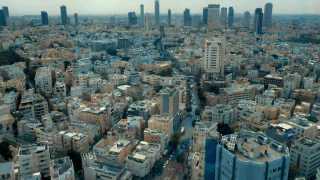 Bird eye view cityscape of Tel Aviv, Israel video