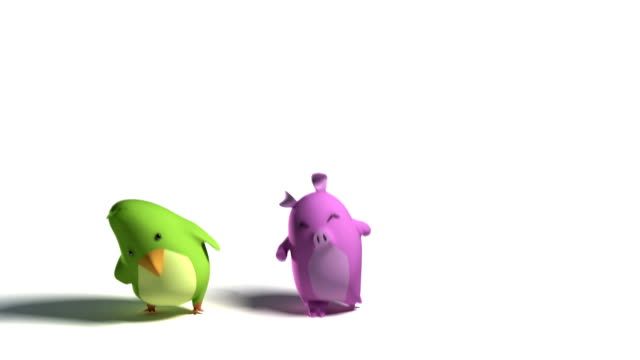 Bird rabbit and pig dance Loopable​ video