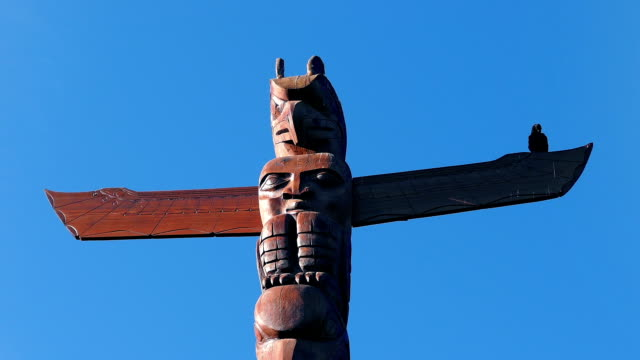 Bird Totem Pole With Crow Perched On It