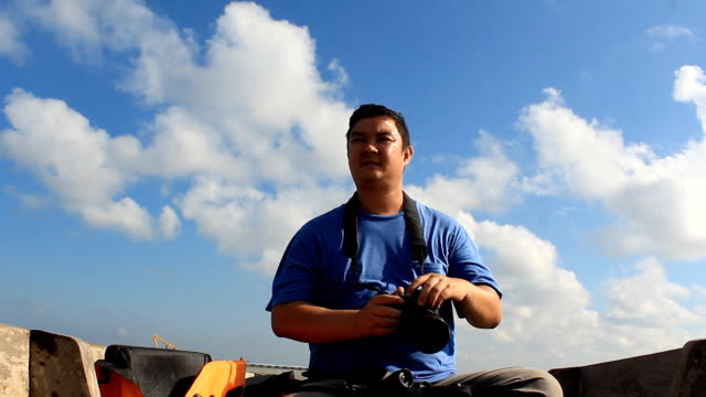 Bird watcher on the boat video