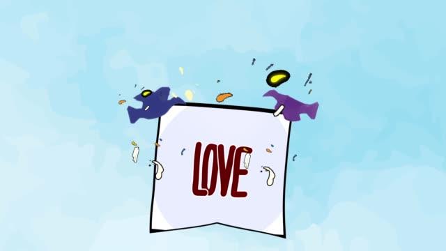 birds carrying messages | love - technika ilustracji filmów i materiałów b-roll