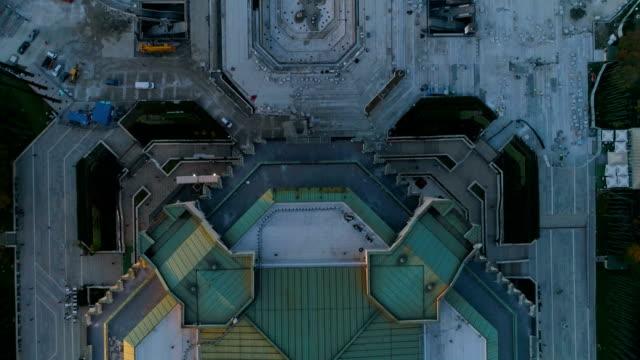 bird's eye view drone shot and reveal in downtown city district in sofia, bulgaria - bułgaria filmów i materiałów b-roll