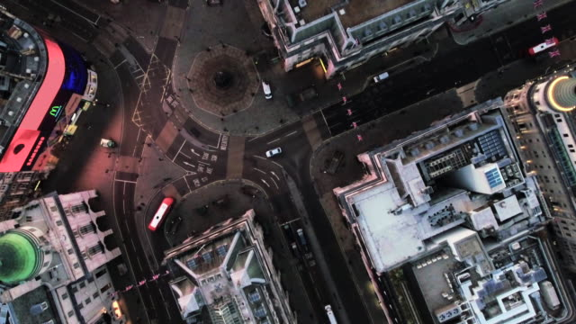 bird's eye view flying over piccadilly circus, london, england - london architecture stock videos & royalty-free footage