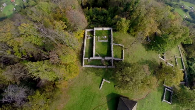 Birds eye view of a castle ruins video
