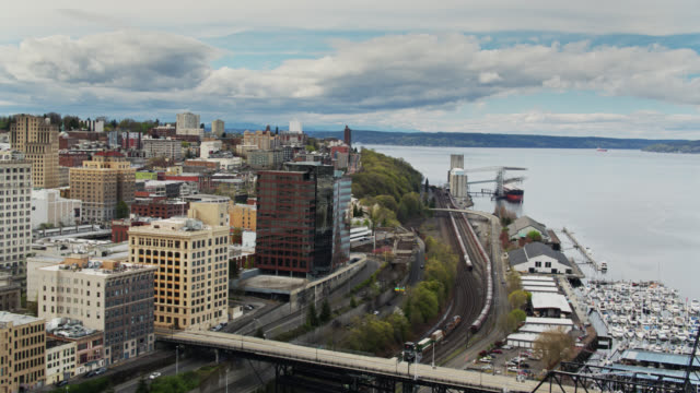 Birds Eye View of Freight Trains in Downtown Tacoma