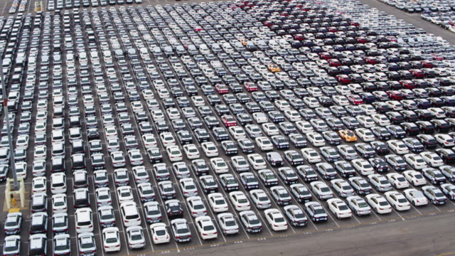 Birds Eye View of New Cars on Dock video