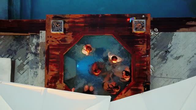 Birds Eye View of People in Hot Tub video