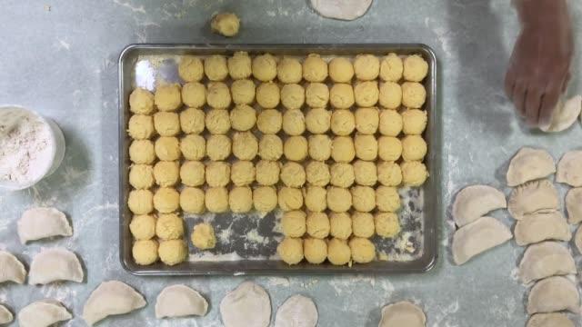 Bird's Eye View of Potato Balls Filling for Pierogies video