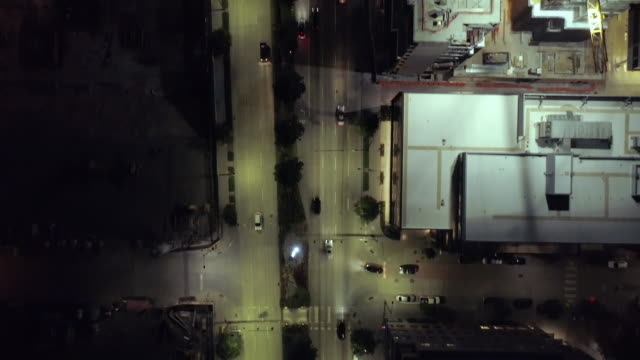 Birds Eye View on Downtown City Streets Alive with Cars Driving at Night video