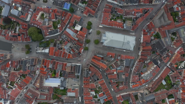 Birds View of Bruges, Belgium Market Place with little traffic and empty streets during Coronavirus Pandemic Lockdown
