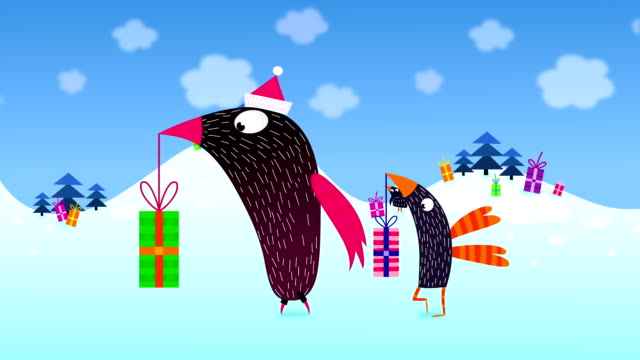 Birds walking and carrying Christmas presents video