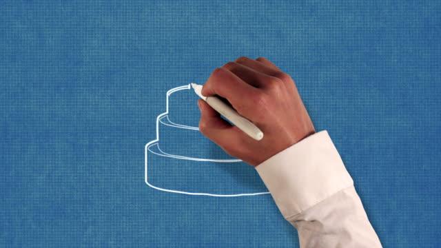 Birthday Cake Blueprint Stop-Motion Style Animation