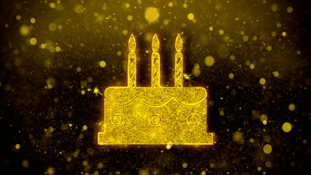 Birthday Cake Icon Golden Glitter Shine Particles.