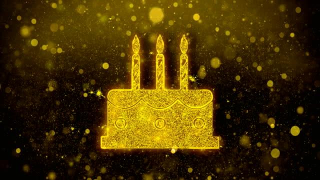 geburtstag kuchen-ikone golden glitter glanz partikel. - geburtstagstorte stock-videos und b-roll-filmmaterial