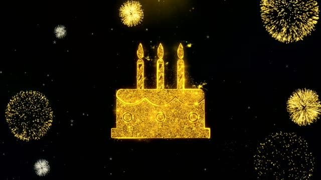 Birthday Cake Icon on Gold Particles Fireworks Display.