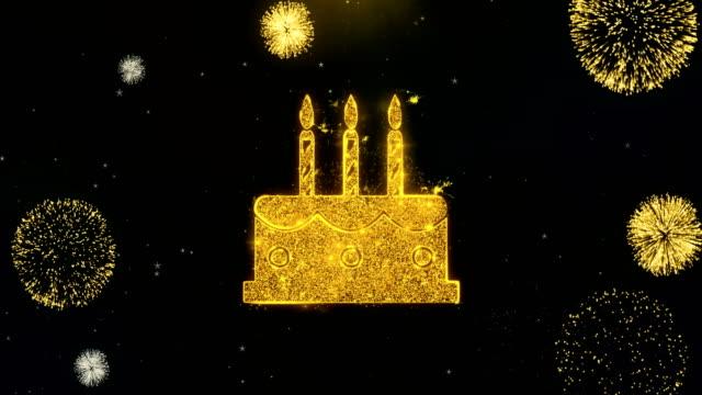 geburtstagstorte symbol auf gold partikel feuerwerk display. - geburtstagstorte stock-videos und b-roll-filmmaterial