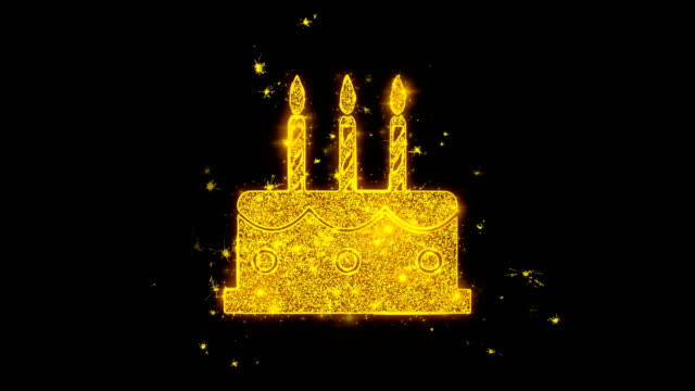 Birthday Cake Icon Sparks Particles on Black Background.