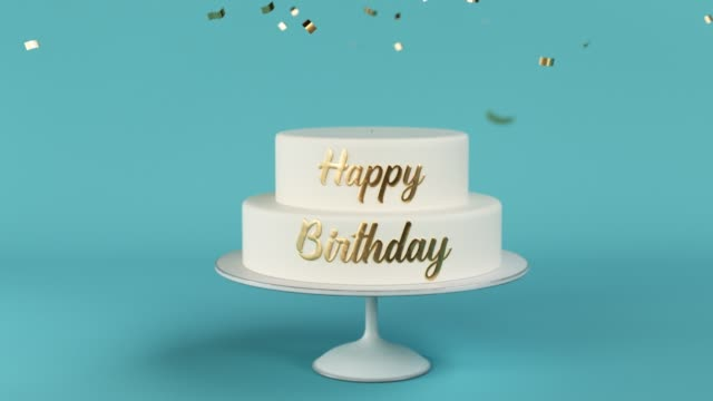 birthday cake with golden letters and number 1 on top animation video