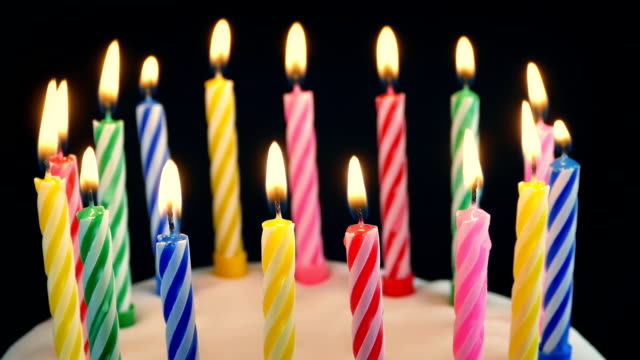 Birthday Candles On Cake Are Blown Out With Wispy Smoke video