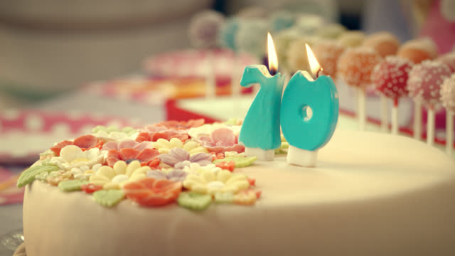 Birthday candles on the cake being blown out video