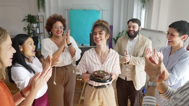 Birthday celebration in modern office video