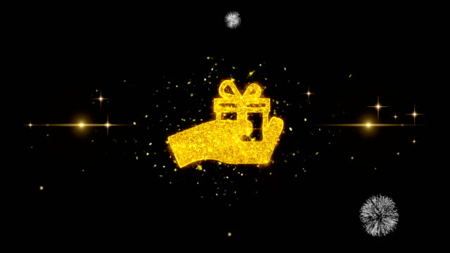Birthday gift box Icon on Glitter Golden Particles Firework.