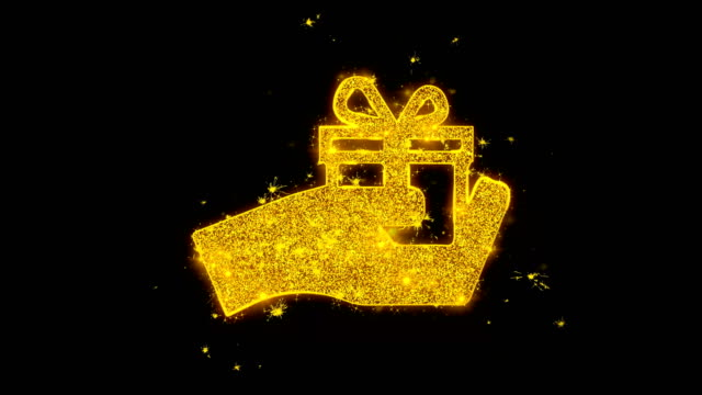 Birthday gift box Icon Sparks Particles on Black Background.