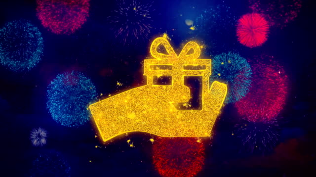 Birthday gift box Icon Symbol on Colorful Fireworks Particles.