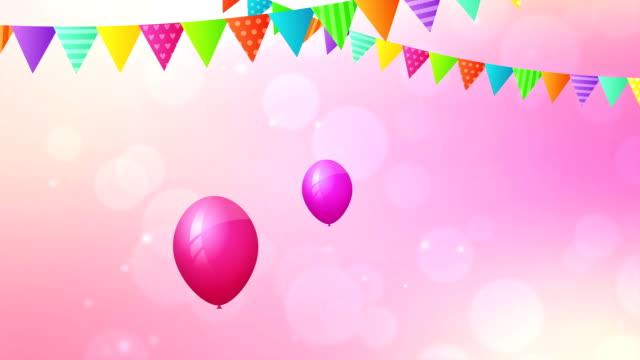 Cumpleaños bucle animación con baloons y pabellones. - vídeo