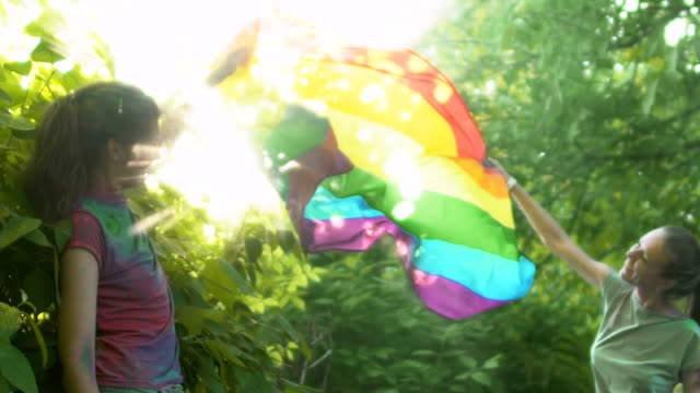 Femmes bisexuelles waving Flag lgbt coloré de vent, protégeant leur relation - Vidéo