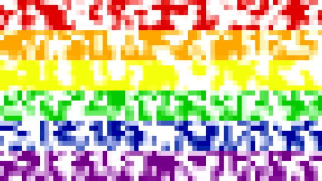 8 bitars pixel övergång i hbt pride rainbow flag färger - intoning bildbanksvideor och videomaterial från bakom kulisserna