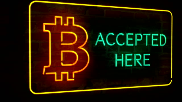 Bitcoin accepted here neon 3D video