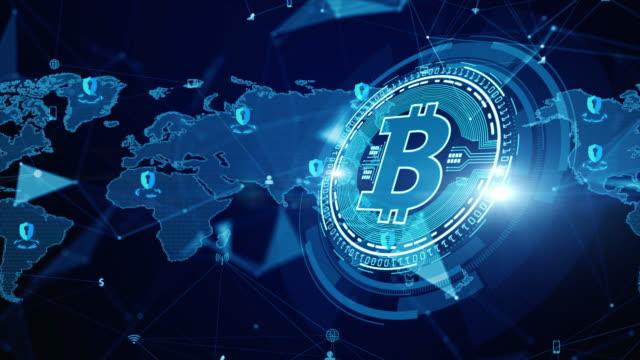 stockvideo's en b-roll-footage met bitcoin blockchain crypto valuta digitale encryptie, digitale gelduitwisseling, technologie netwerk verbindingen achtergrond concept. - bitcoin