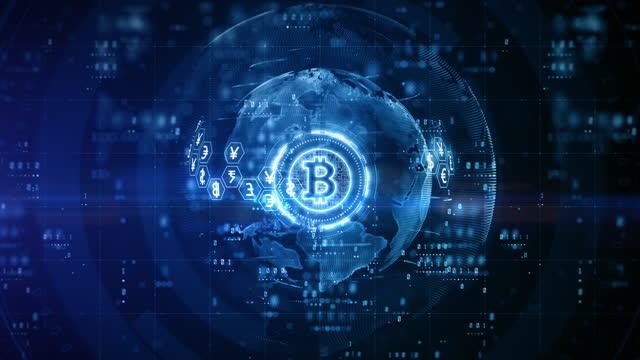 crittografia digitale della criptovaluta blockchain bitcoin, scambio di denaro digitale, concetto di sfondo delle connessioni di rete globali della tecnologia. - criptovaluta video stock e b–roll