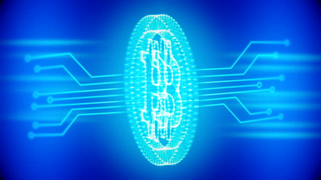 bitcoin blue loopable background with circuit board video