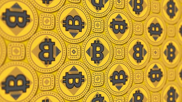 stockvideo's en b-roll-footage met bitcoin (btc) cryptogeld 3d-symbool zakelijke financiële caleidoscoop patroon achtergrond video lus - bitcoin