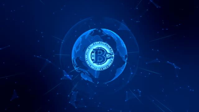 vidéos et rushes de bitcoin crypto-monnaie dans le cyberespace numérique. réseau de technologie money exchange. élément de terre fourni par la nasa - bitcoin