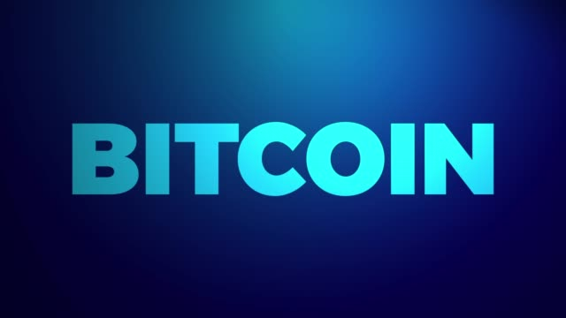 bitcoin cryptocurrency market abstract animation of bitcoin crypto currency futuristic concept. word bitcoin on a blue background. - логотип стоковые видео и кадры b-roll