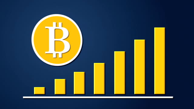 Bitcoin currency sign with growing chart video