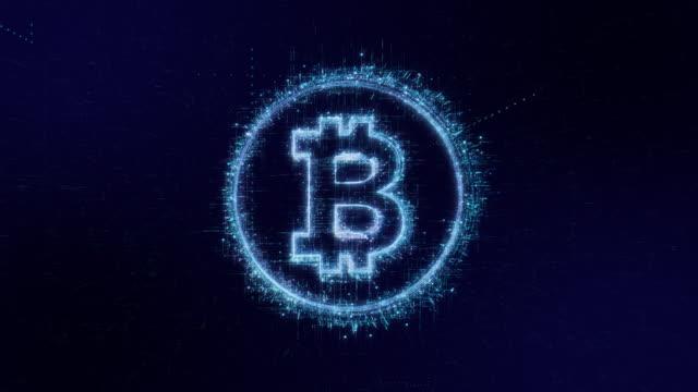 比特幣圖示數位代碼技術背景 - 區塊鏈 個影片檔及 b 捲影像