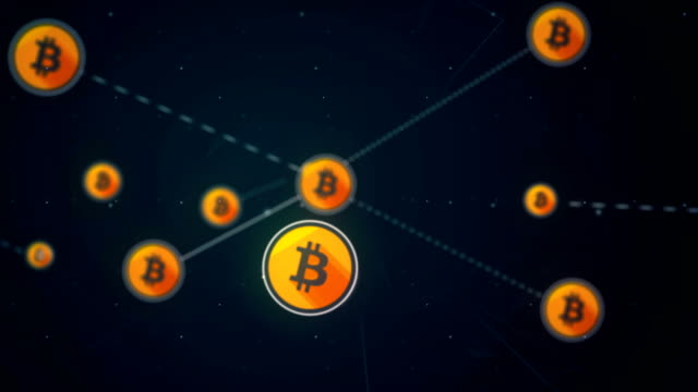 vídeos de stock e filmes b-roll de bitcoin icon symbol network connection technology loop animation 4k - bit código binário