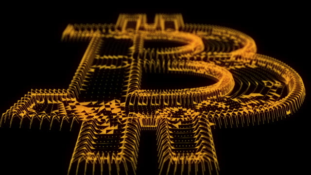 Bitcoin logo background in digital style video